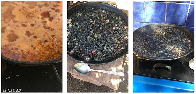 preparación del arroz negro