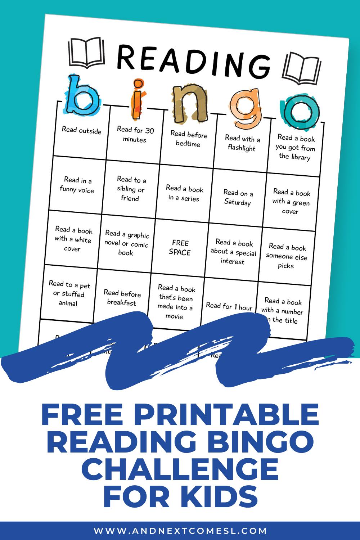 Free reading bingo challenge & game board for kids
