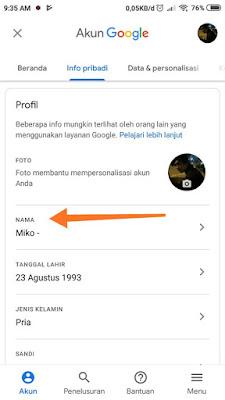 Cara Mengganti Nama Gmail di Hp Android