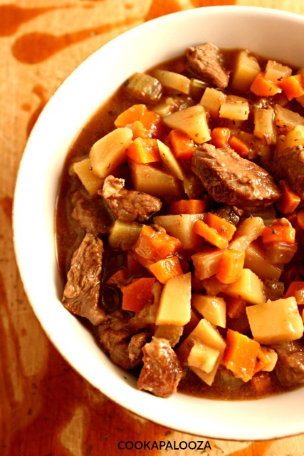 Teriyaki Beef Stew with diced vegetables and plenty of savory sauce to fill your spoon.