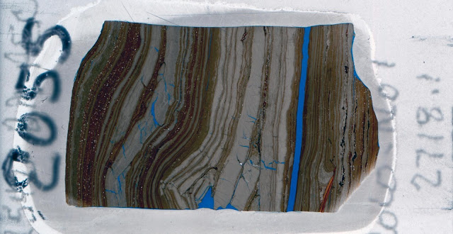 Petrographic thin section made from core sample. This 30 micron thin slice of rock allows a view of the types of features thought to be microbial. Here, the blue layers are an epoxy added in to see void-space in the rock, and the grey is sediment. The morphology of the orange-brown layers are suggestive of microbial activity, such as they way they roll over themselves in the bottom left and smoothly drape over the triangular feature. This type of deposition demonstrates that the sediment had to have a degree of cohesive stickiness, such as that provided by the presence of microbial mats. Credit: ku.edu