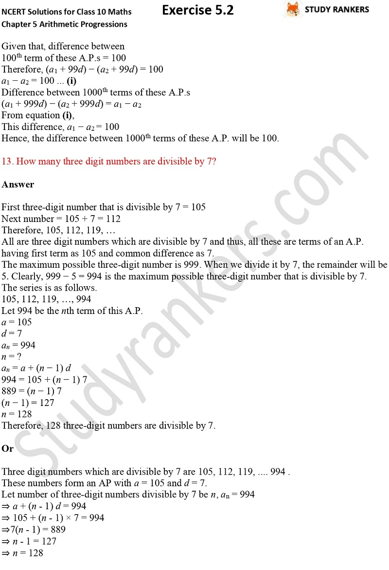 NCERT Solutions for Class 10 Maths Chapter 5 Arithmetic Progressions Exercise 5.2 Part 10