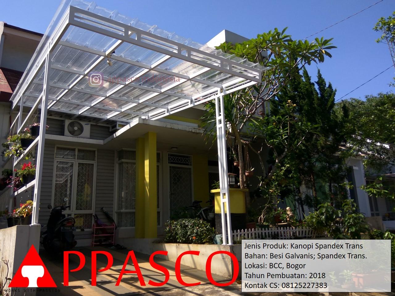 Kanopi Spandek Transparan Putih Besi Galvanis di BCC Bogor
