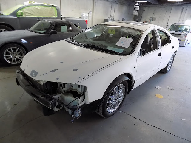 Car getting ready for top quality paint job at Almost Everything Auto Body.