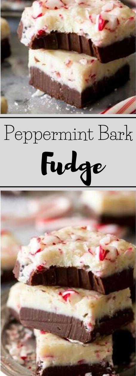 Peppermint Bark Fudge #desserts #pumpkin #pie #brownies #chocolate