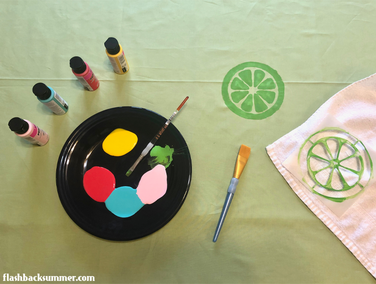 Flashback Summer: DIY vintage style table linens, painting with stencils!