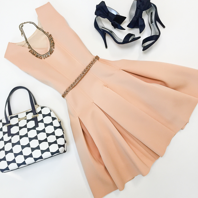 Ann Taylor Jackie Bow Sandals, Anthropologie Plaited Stardust Belt, Chicwish New Favored Pleated Dress in Nude, Kate Spade cedar street bow purse, Anthropologie sparkled peche bib necklace, outfit flatlay