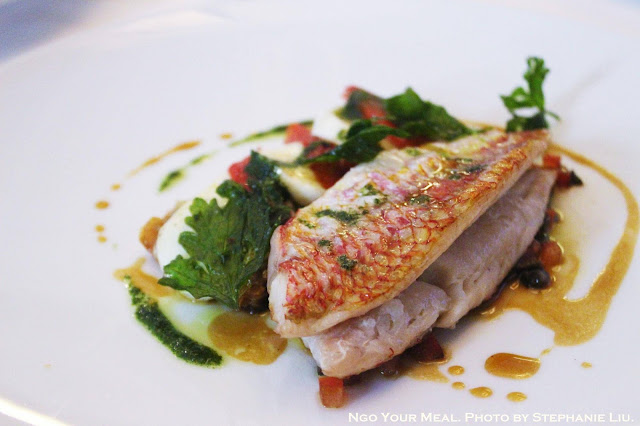 Red Mullet with Crisp Tart of Confit Tomatoes and Mozzarella at Le Violon D'Ingres in Paris