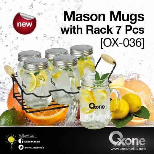 OX-036 Oxone Mason Mugs - with Rack 7Pcs