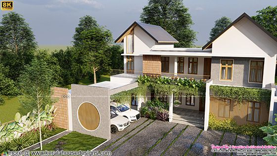 Side view of modern mixed roof house