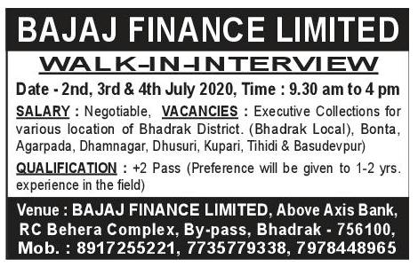 bajaj finance jobs in Odisha