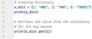Retrieve data from dictionary for a specific key