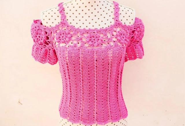 Tutorial Blusa de Mujer a Crochet con Escotes en Hombros