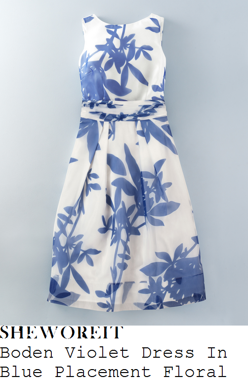 lorraine-kelly-boden-violet-cornflower-blue-and-white-oversized-floral-print-sheer-oraganza-silk-overlay-sleeveless-high-waisted-full-skirt-midi-dress