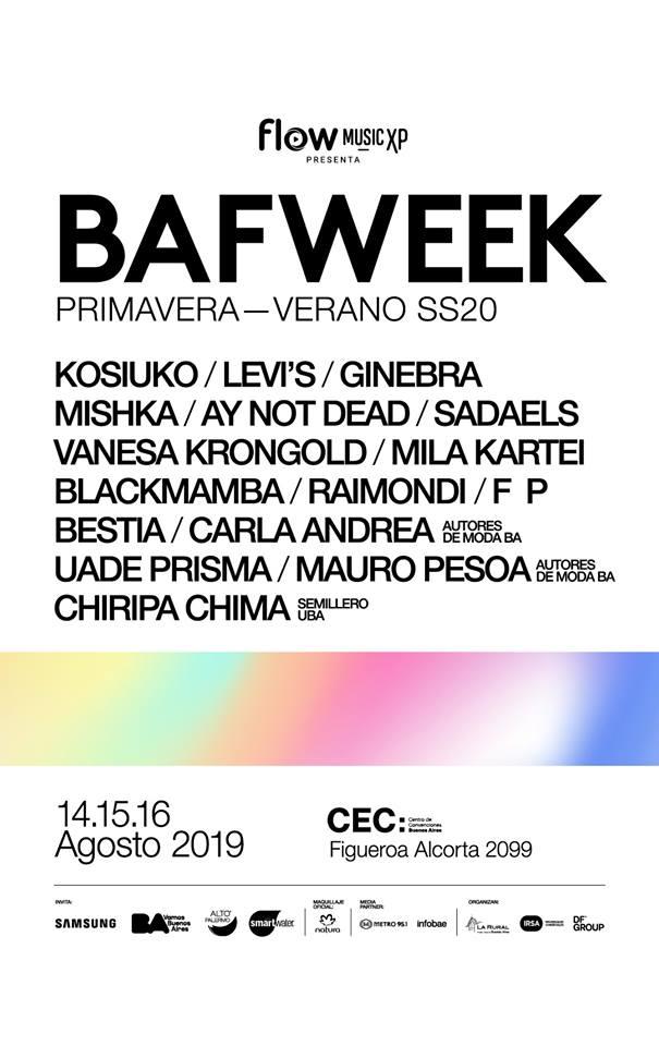 Bafweek primavera verano 2020: Marcas y diseñadores participantes edición primavera verano 2020.