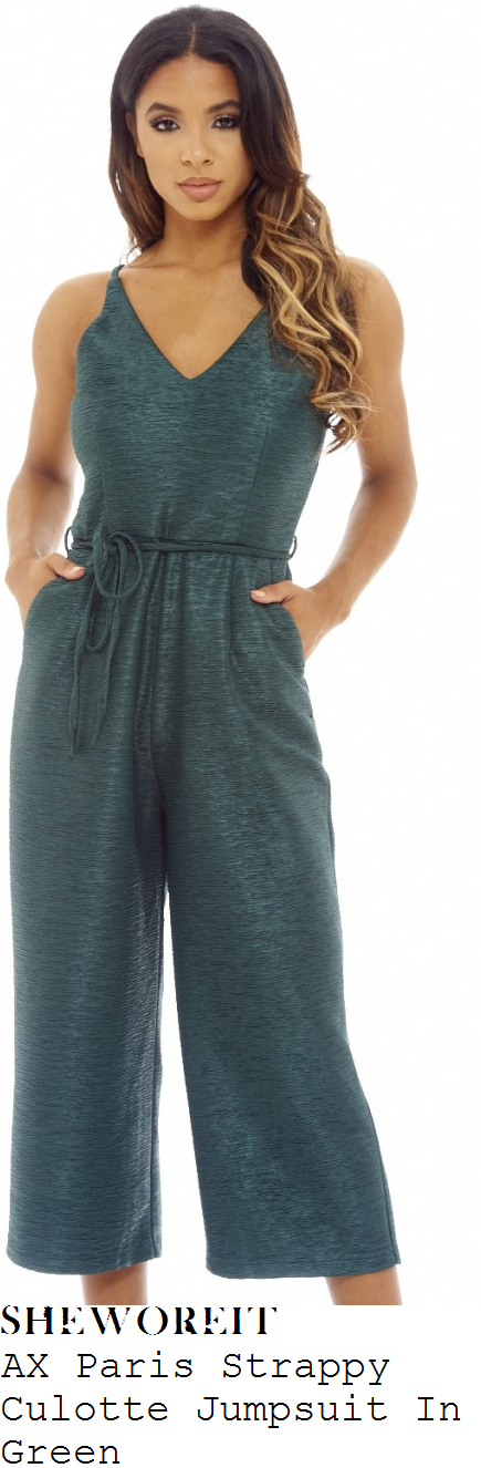 lydia-bright-ax-paris-jewel-green-sleeveless-cami-strap-v-neck-tie-waist-textured-wide-leg-culotte-jumpsuit