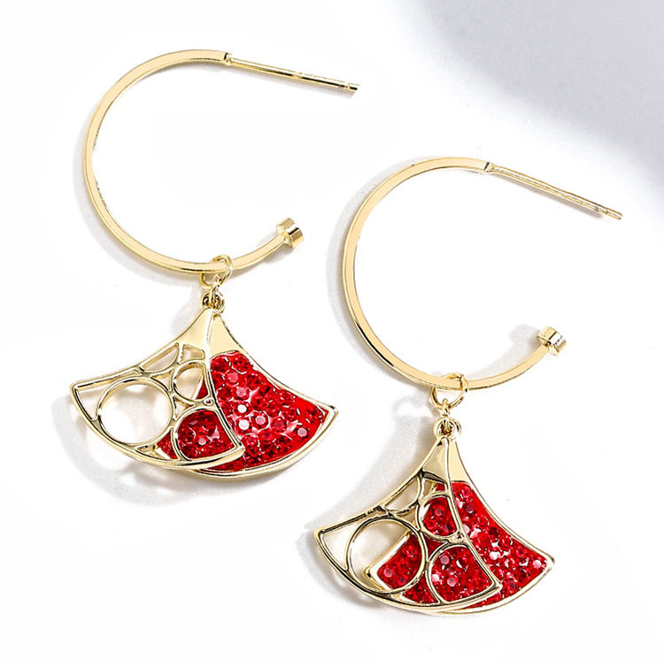 設計風優雅小扇水晶耳環