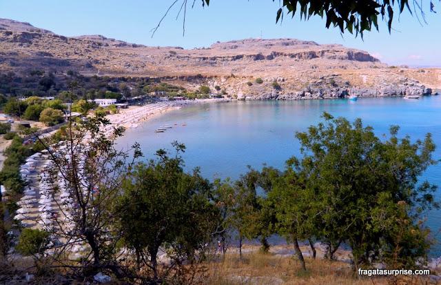 Subida à Acrópole de Lindos, Ilha de Rodes, Grécia
