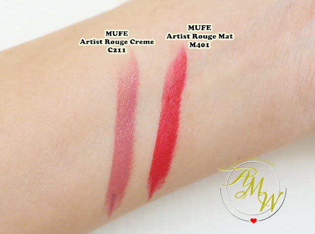 a swatch photo of Make Up For Ever Artist Rouge Mat and Creme Review in shades C211 and M401.