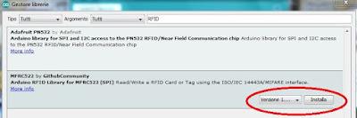 Fig. 3 - Selezione della versione della libreria - Fonte Arduino IDE
