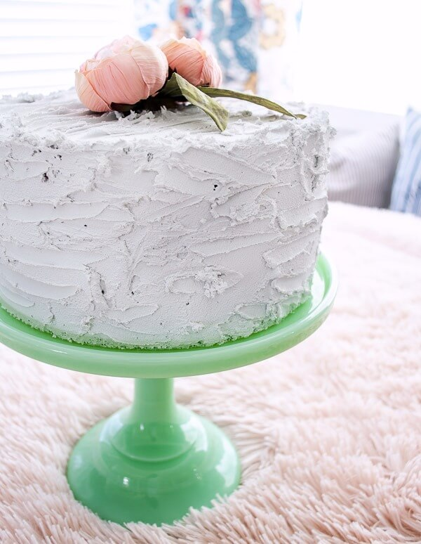 fake cake with buttercream frosting