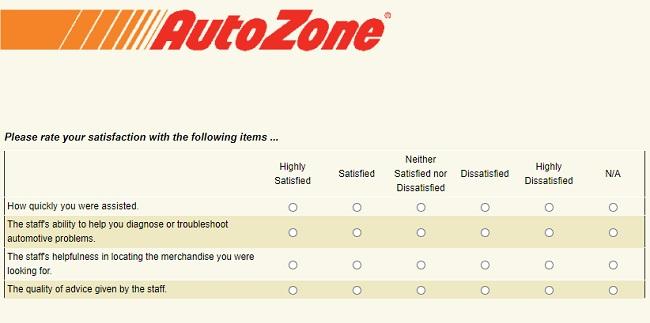 AutoZoneCares Survey Sweepstakes