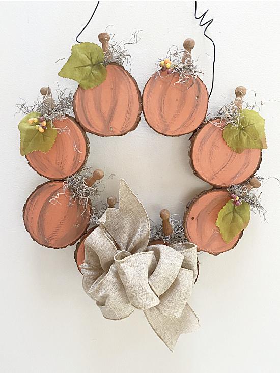 pumpkin circle wreath with bow