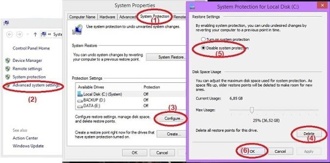 Tắt System Restore máy tính chạy Windows 7/8