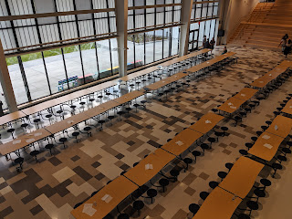 the commons, multipurpose meeting and cafeteria space view from second floor