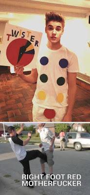 Lustiges Twister spiel mit Justin Bieber