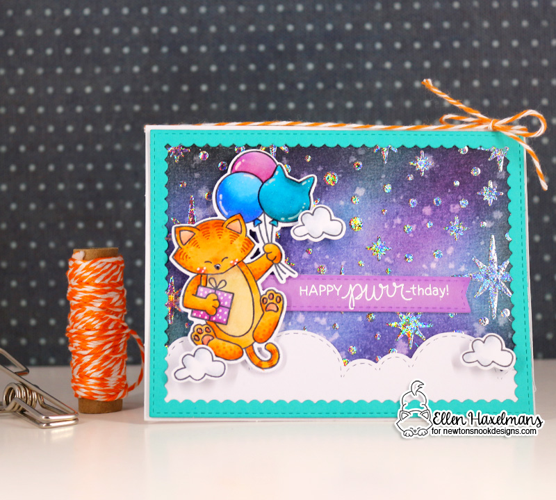 Happy Purr-thday! Cat with Balloons Birthday Card by Ellen Haxelmans | Newton's Birthday Balloons Stamp Set, Starfield Stencil and Sky Borders Die Set by Newton's Nook Designs #handmade #newtonsnook