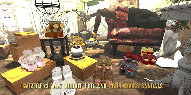 {amiable}3WAY Rubbit Fur&Frill Socks Winter Sandals@the Shiny Shabby(50%OFF SALE).
