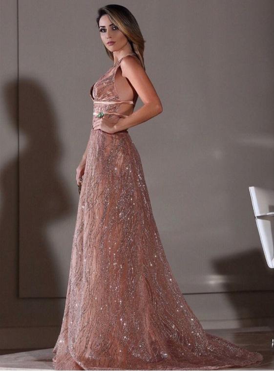 vestido de festa nude rosado