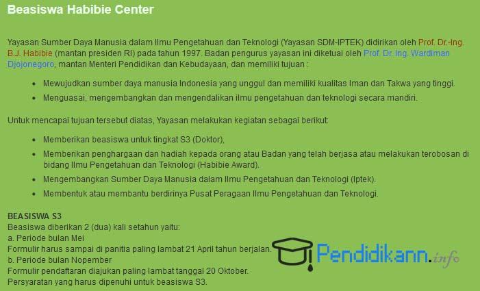 Informasi Beasiswa Habibie Center Terbaru