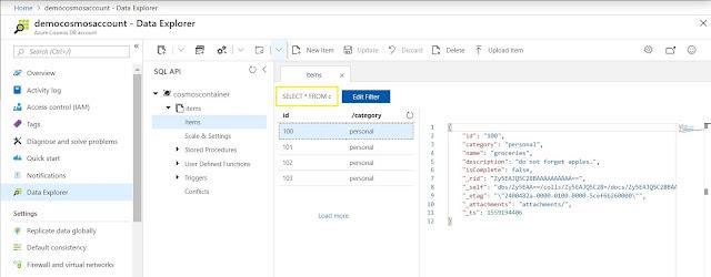 Data Explorer - Saved Items