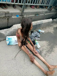 Emaciated Naked Lady Appears On Lagos Road