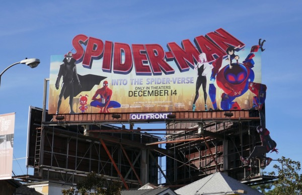 Dangling Spider-man Spider-verse cut-out extension billboard
