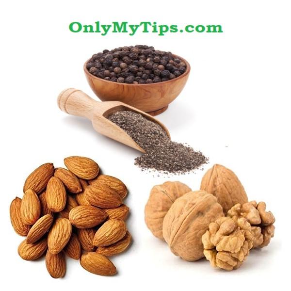 Almond,akhroot, laung, black pepper, walnuts