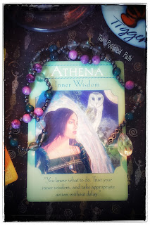 Athena Card from The Goddess Guidance Oracle Deck with Prayer Beads