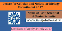 Centre for Cellular and Molecular Biology Recruitment 2017– Scientist/Senior Scientist