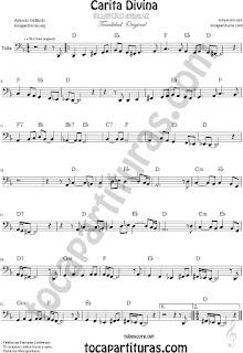 Partitura de Carita Divina Tuba  Partitura 8ª baja clave de fa Sheet Music for French Bass Music Scores