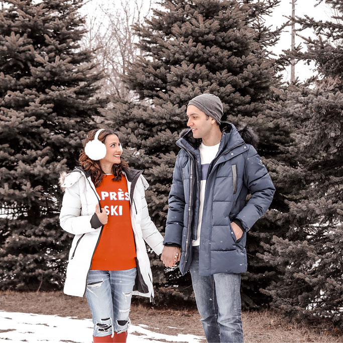 Couples Photo White Earmuffs Red H&M Apres Ski Sweater Jeans Navy Coat Grey Hat