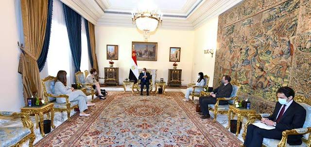 السيسي يؤكد لرئيسة البنك الاوروبي ان البنك شريك نجاح لعملية التنمية في مصر