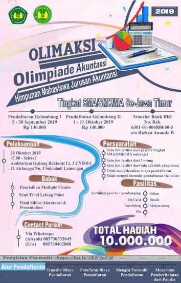 Olimpiade Akuntansi OLIMAKSI Unisda 2019 SMA Sederajat Se-Jatim