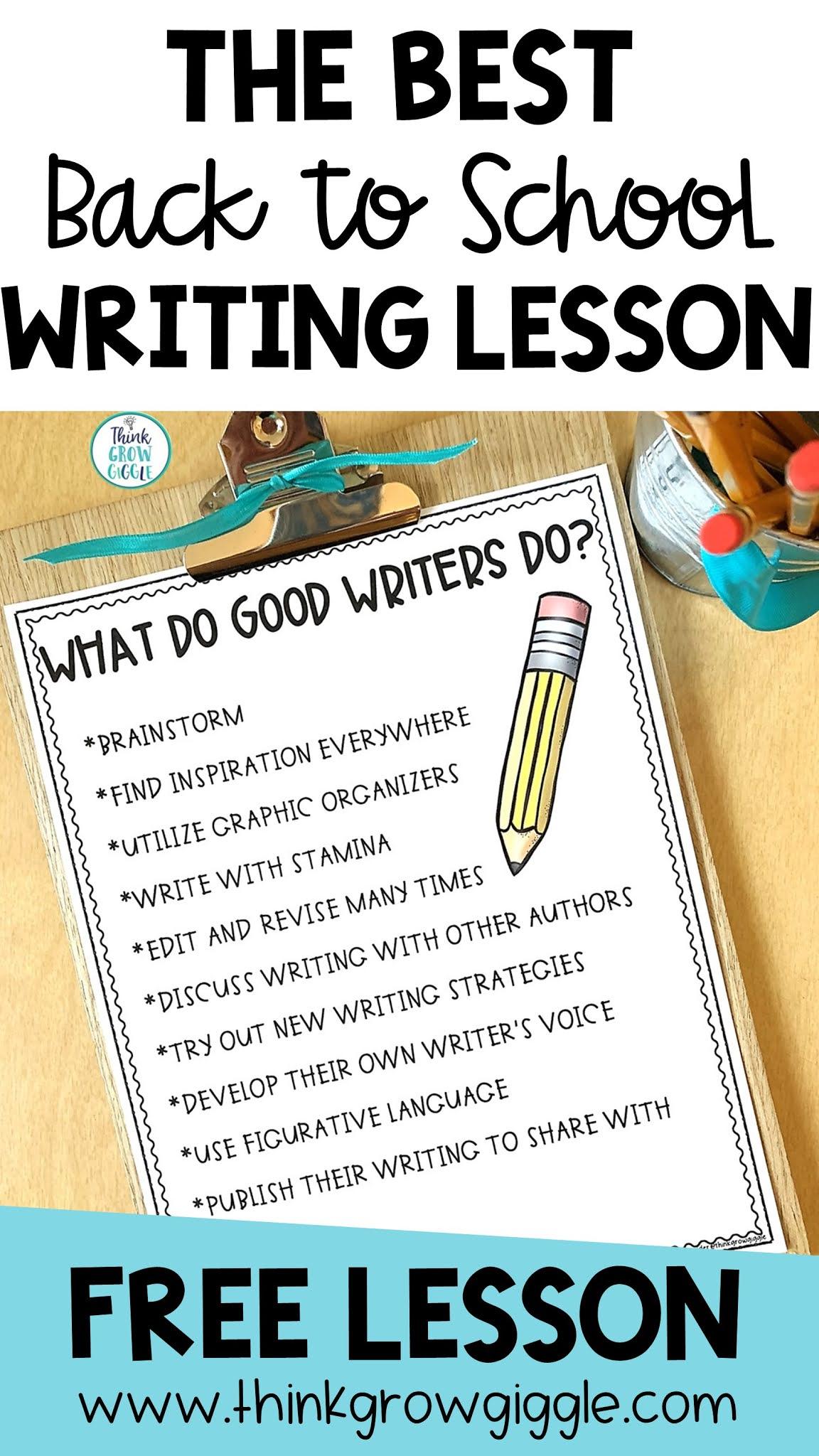 upper elementary writing first week of school free
