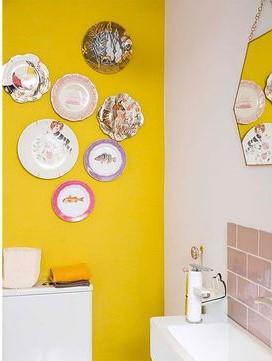 casa de los sueños decoración baño amarillo