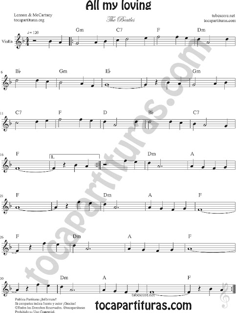 All my loving Partitura de violín Sheet Music for violin