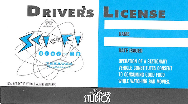 Sci Fi Dine In Driver's License Disney's Hollywood Studios