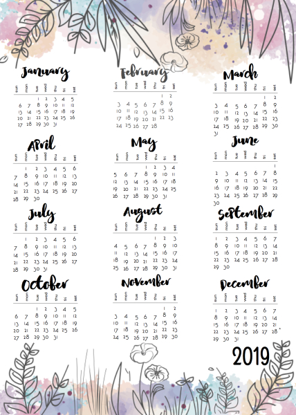 2019 Calendar One Page.Musings Of An Average Mom 2019 Year At A Glance