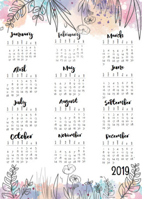 2019 one page calendars